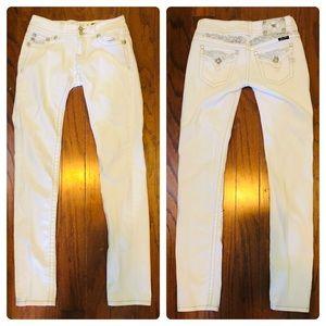 "Miss Me White JP5010SKI Skinny Jeans 27 32"" inseam"